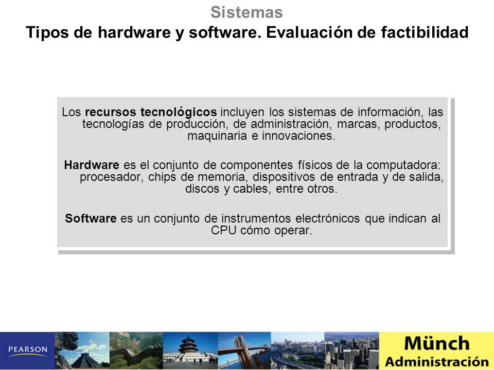 Tipos de hardware y software. Evaluación de factibilidad