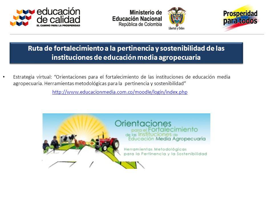 Ruta de fortalecimiento a la pertinencia y sostenibilidad de las instituciones de educación media agropecuaria