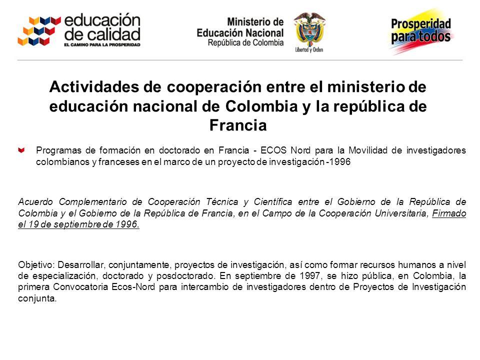 Actividades de cooperación entre el ministerio de educación nacional de Colombia y la república de Francia