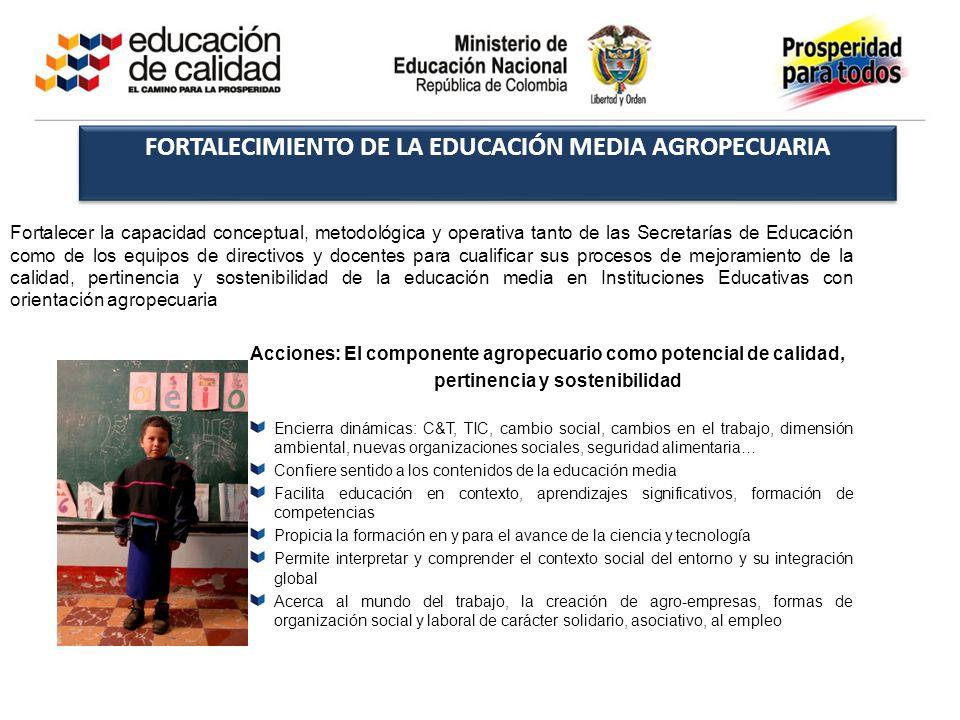 FORTALECIMIENTO DE LA EDUCACIÓN MEDIA AGROPECUARIA