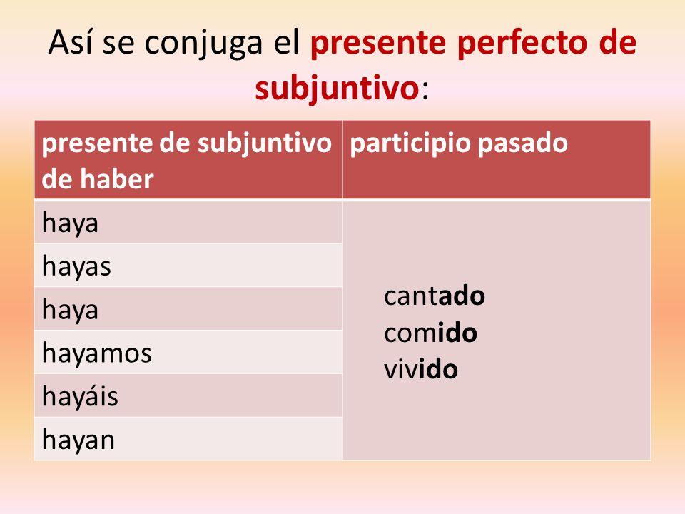 Así se conjuga el presente perfecto de subjuntivo: