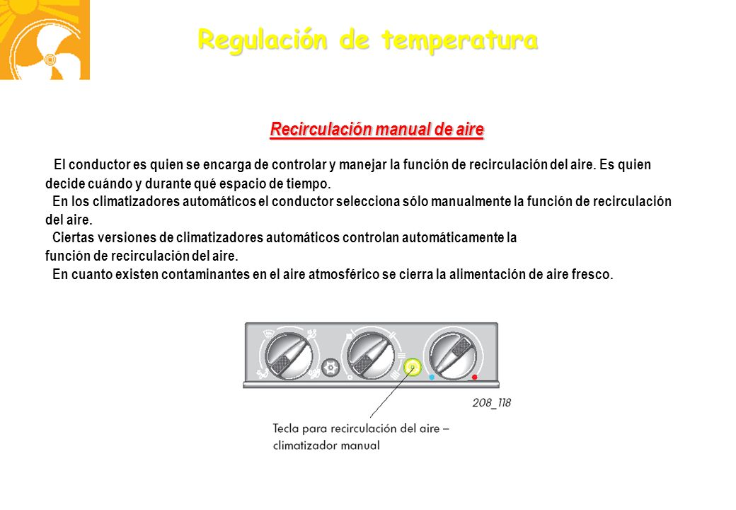 Recirculación manual de aire