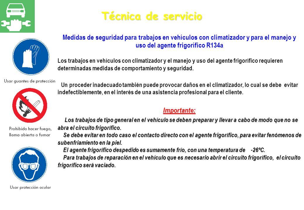 Técnica de servicioMedidas de seguridad para trabajos en vehículos con climatizador y para el manejo y uso del agente frigorífico R134a.