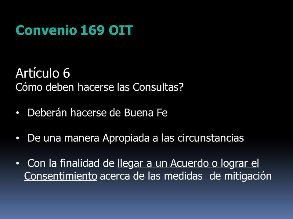 Convenio 169 OIT Artículo 6 Cómo deben hacerse las Consultas