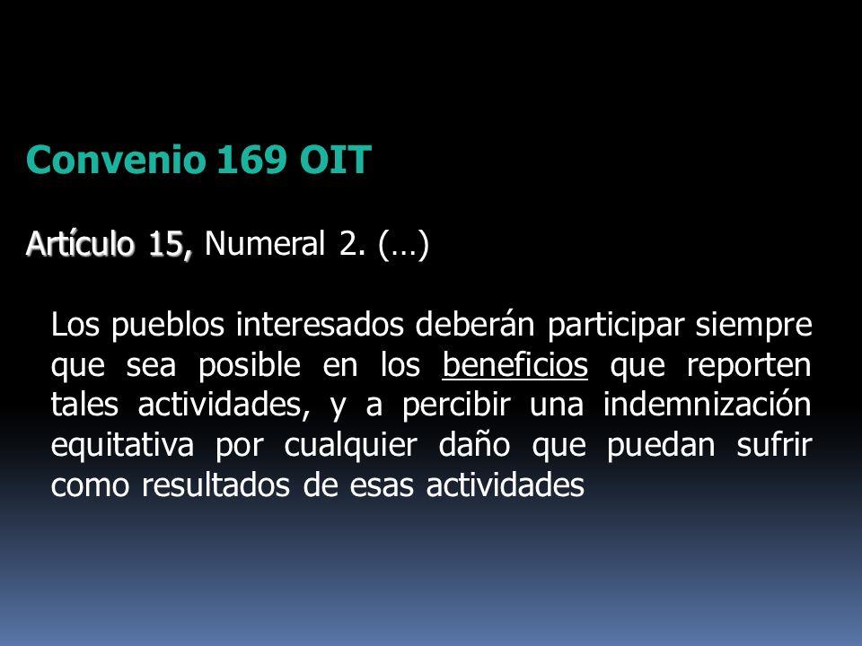 Convenio 169 OIT Artículo 15, Numeral 2. (…)