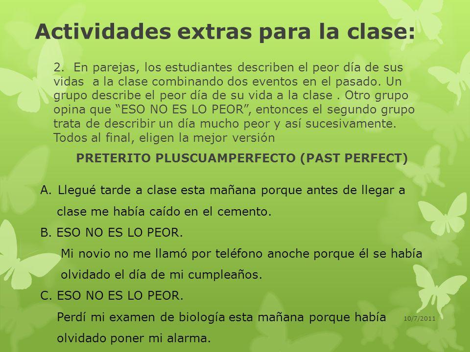 Actividades extras para la clase: