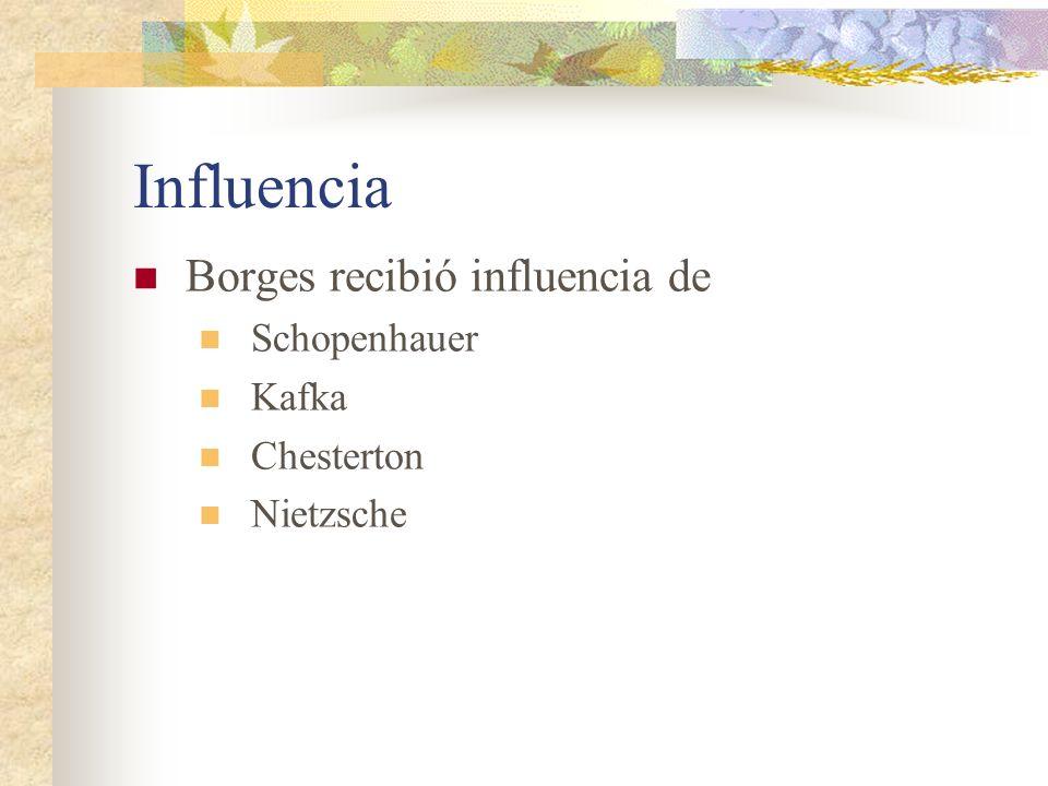 Influencia Borges recibió influencia de Schopenhauer Kafka Chesterton