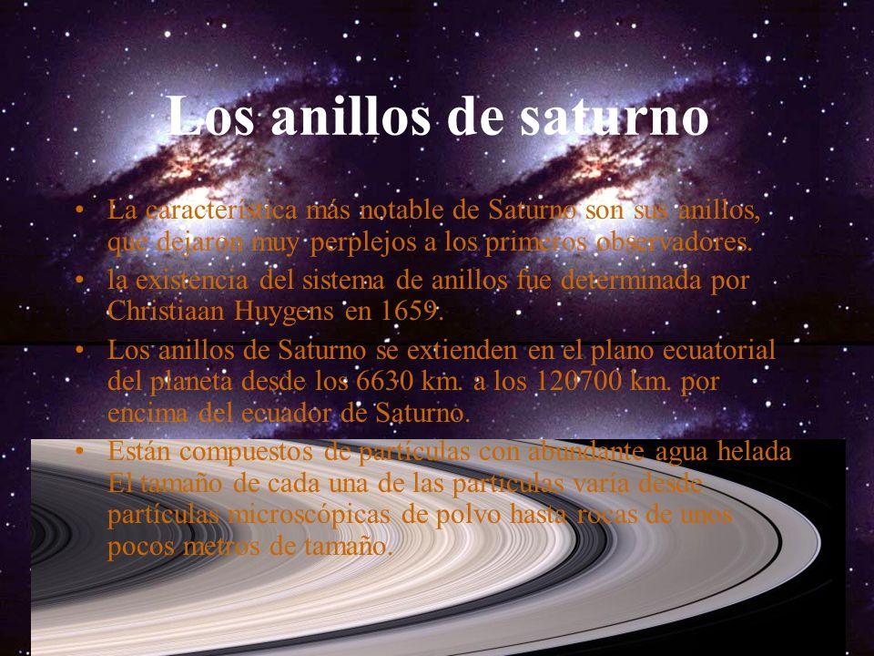 Los anillos de saturno La característica más notable de Saturno son sus anillos, que dejaron muy perplejos a los primeros observadores.