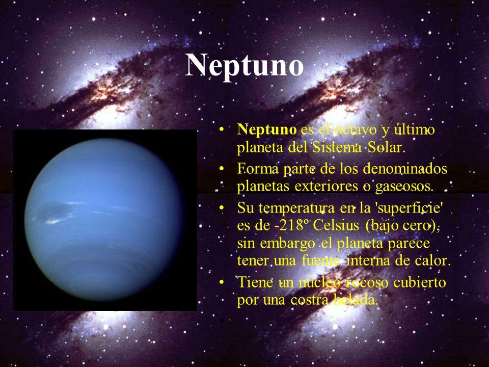Neptuno Neptuno es el octavo y último planeta del Sistema Solar.