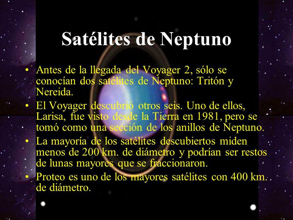 Satélites de Neptuno Antes de la llegada del Voyager 2, sólo se conocían dos satélites de Neptuno: Tritón y Nereida.