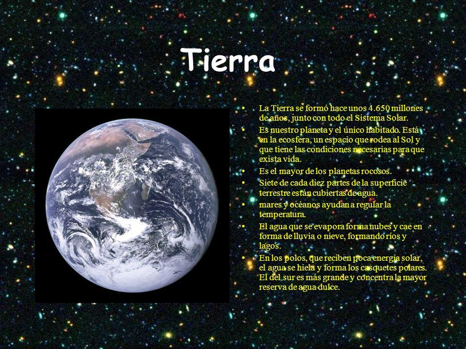 Tierra La Tierra se formó hace unos 4.650 millones de años, junto con todo el Sistema Solar.