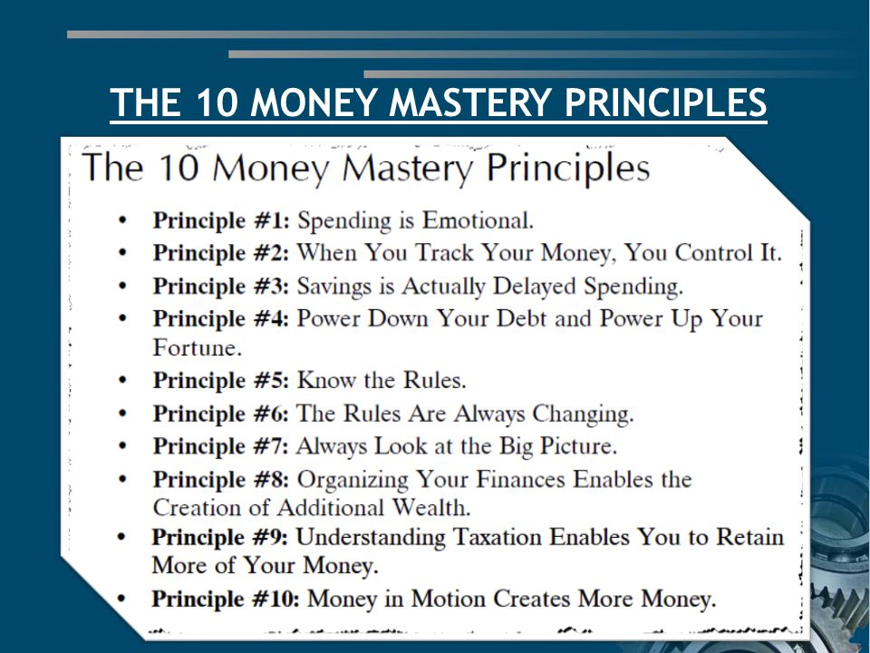 THE 10 MONEY MASTERY PRINCIPLES