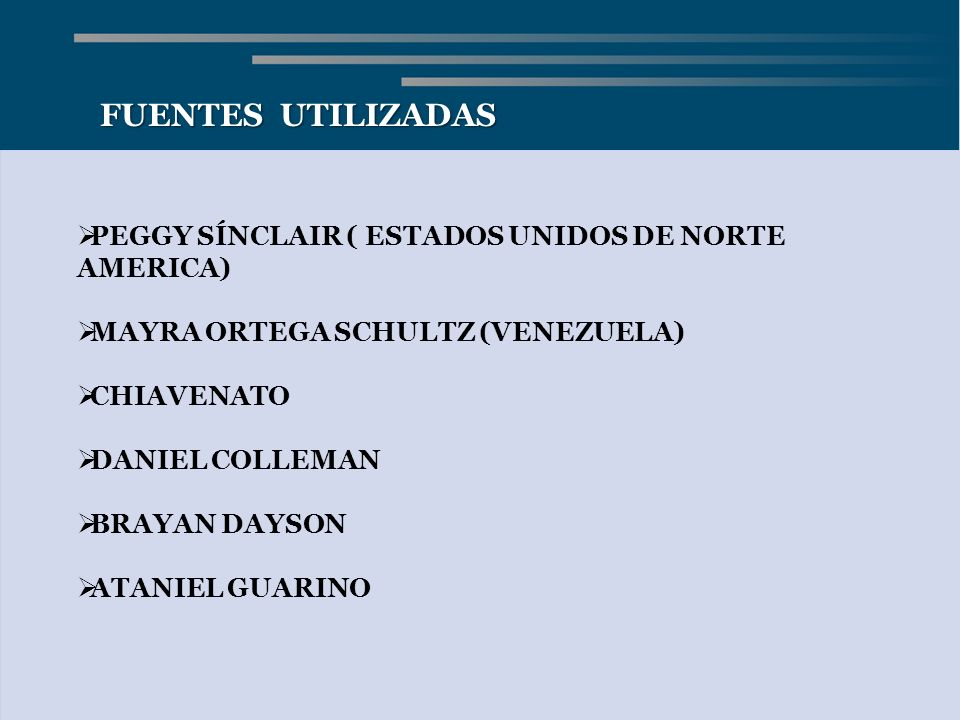 FUENTES UTILIZADAS PEGGY SÍNCLAIR ( ESTADOS UNIDOS DE NORTE AMERICA)