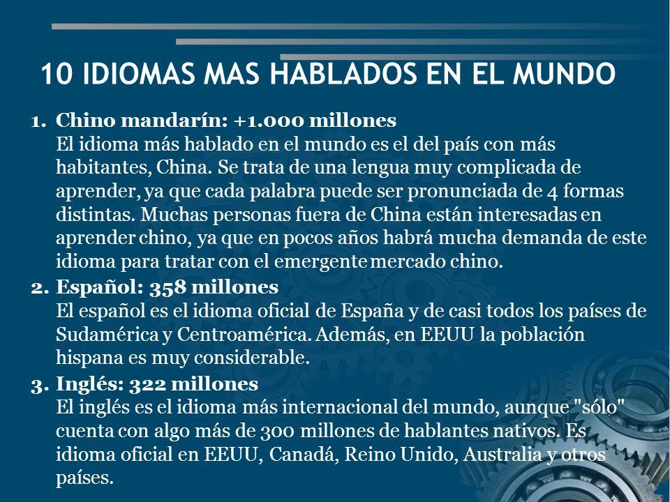 10 IDIOMAS MAS HABLADOS EN EL MUNDO
