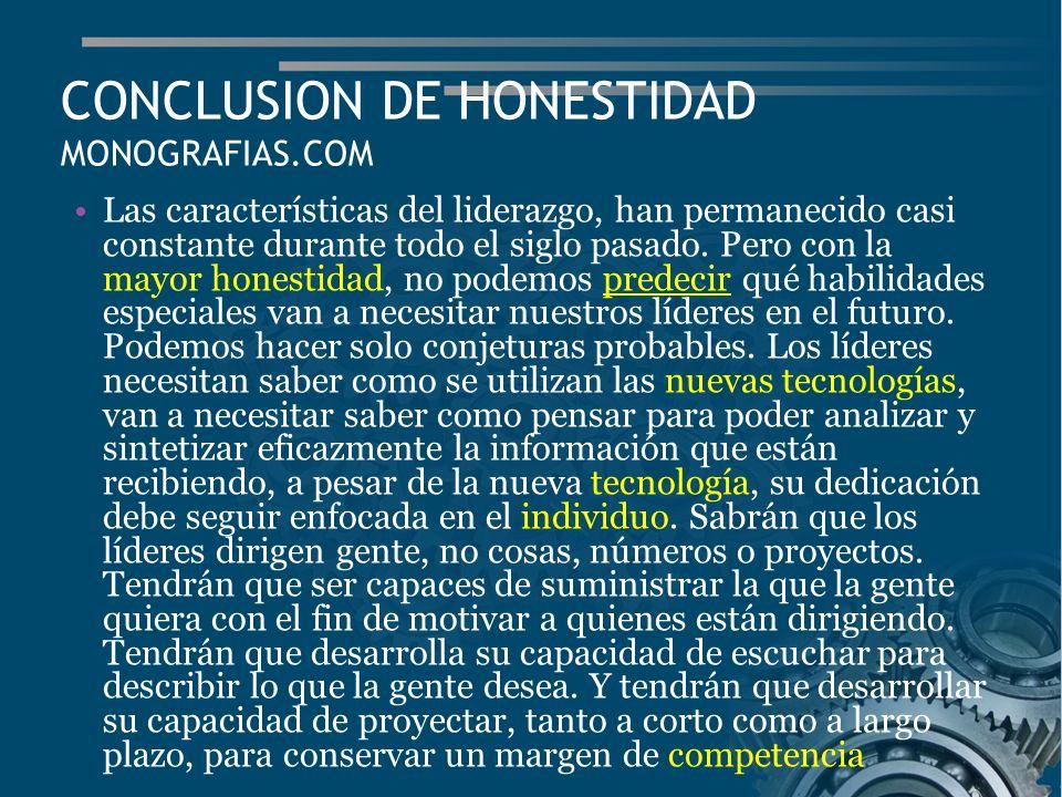 CONCLUSION DE HONESTIDAD MONOGRAFIAS.COM