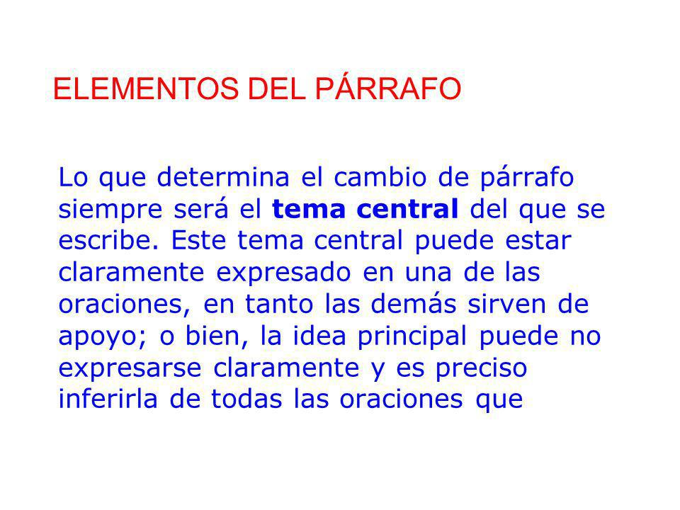 ELEMENTOS DEL PÁRRAFO
