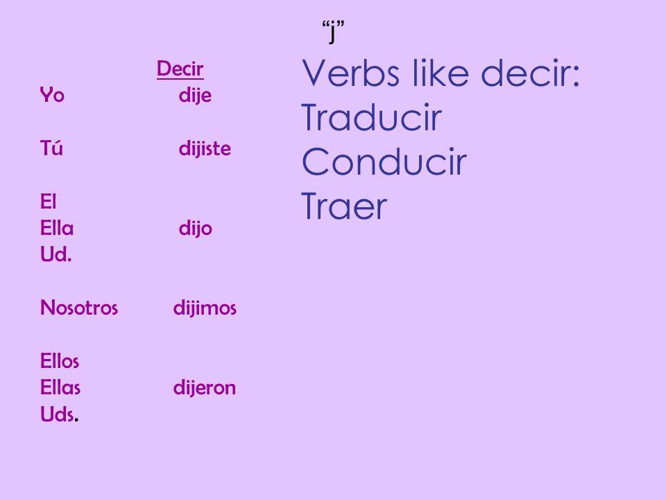 Verbs like decir: Traducir Conducir Traer j Decir Yo dije Tú dijiste