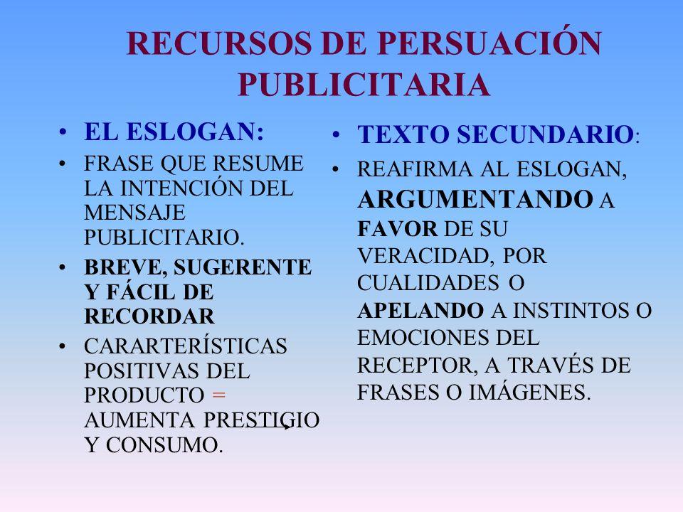 RECURSOS DE PERSUACIÓN PUBLICITARIA