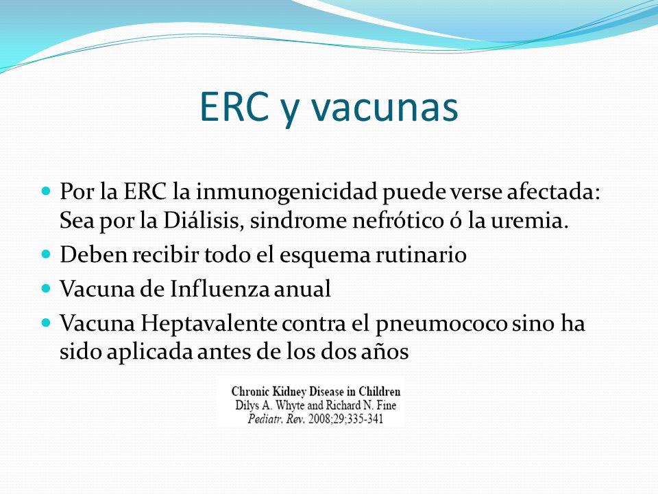 ERC y vacunas Por la ERC la inmunogenicidad puede verse afectada: Sea por la Diálisis, sindrome nefrótico ó la uremia.