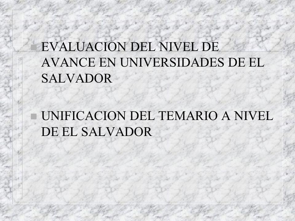 EVALUACION DEL NIVEL DE AVANCE EN UNIVERSIDADES DE EL SALVADOR