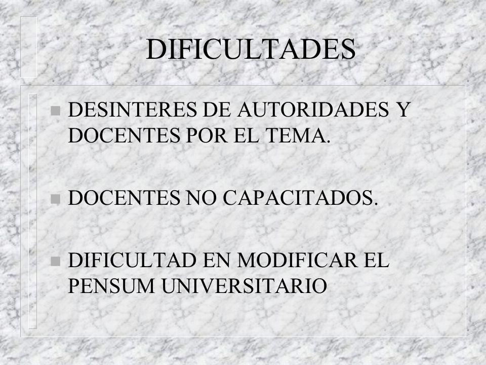 DIFICULTADES DESINTERES DE AUTORIDADES Y DOCENTES POR EL TEMA.