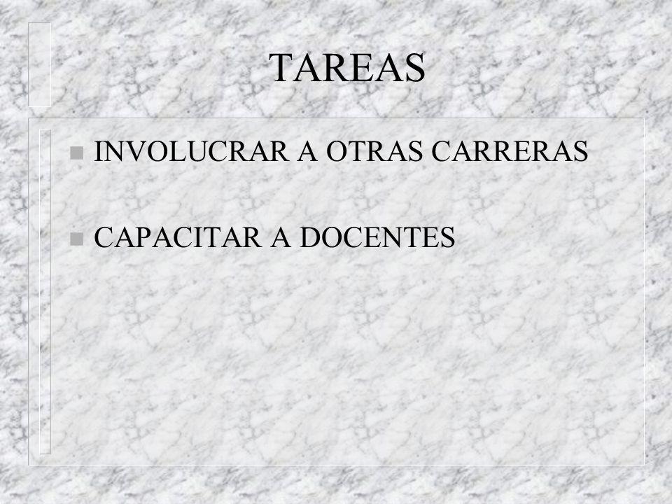 TAREAS INVOLUCRAR A OTRAS CARRERAS CAPACITAR A DOCENTES