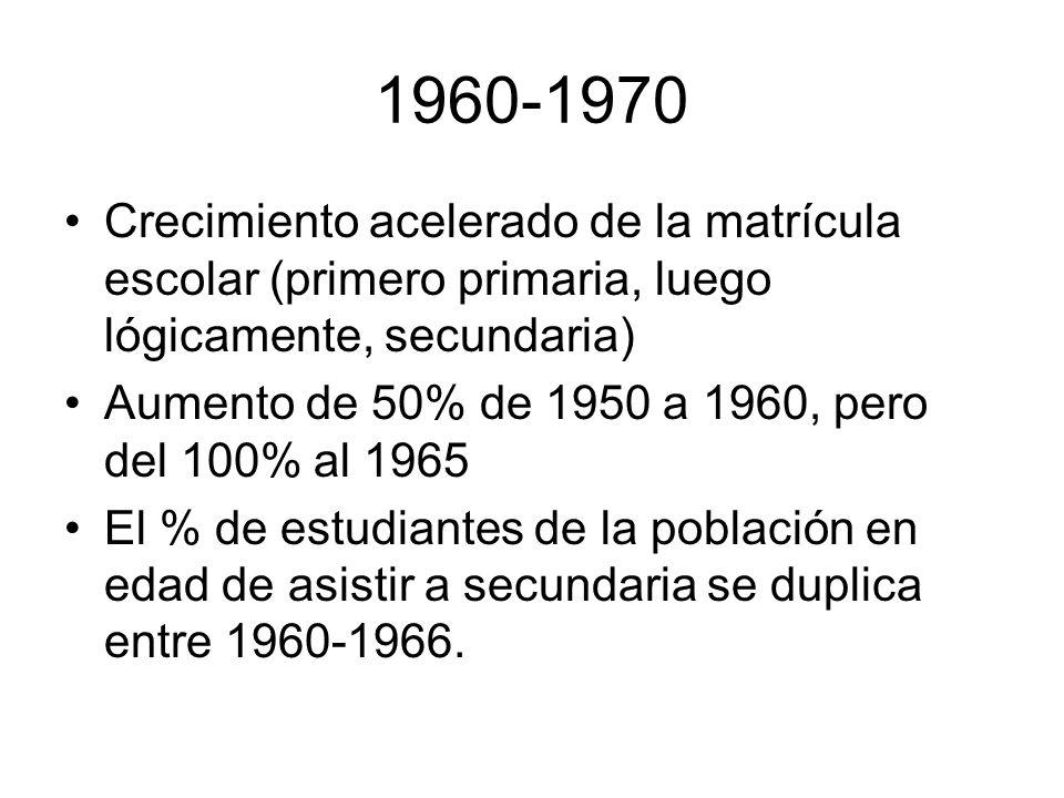 1960-1970Crecimiento acelerado de la matrícula escolar (primero primaria, luego lógicamente, secundaria)