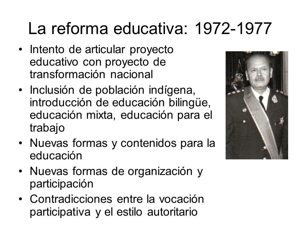 La reforma educativa: 1972-1977