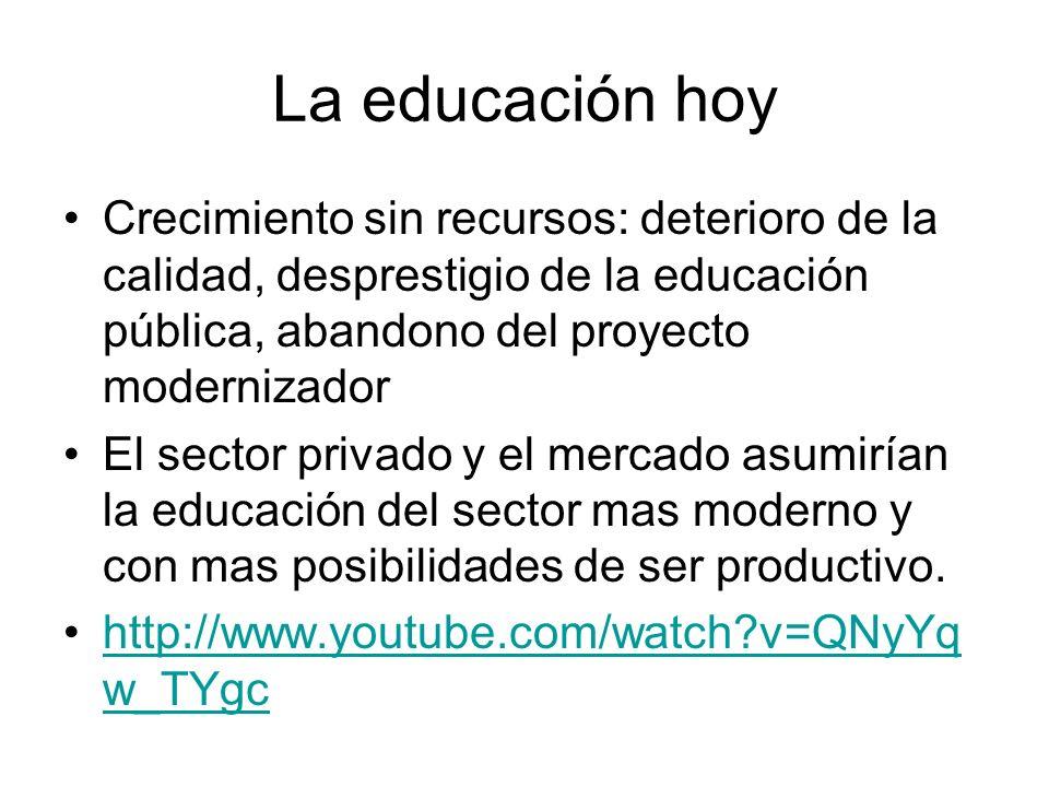 La educación hoyCrecimiento sin recursos: deterioro de la calidad, desprestigio de la educación pública, abandono del proyecto modernizador.