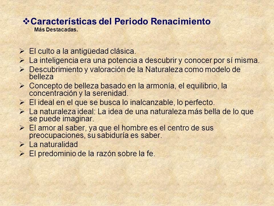 Características del Periodo Renacimiento