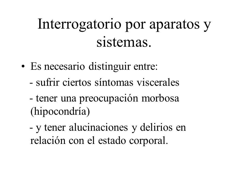 Interrogatorio por aparatos y sistemas.