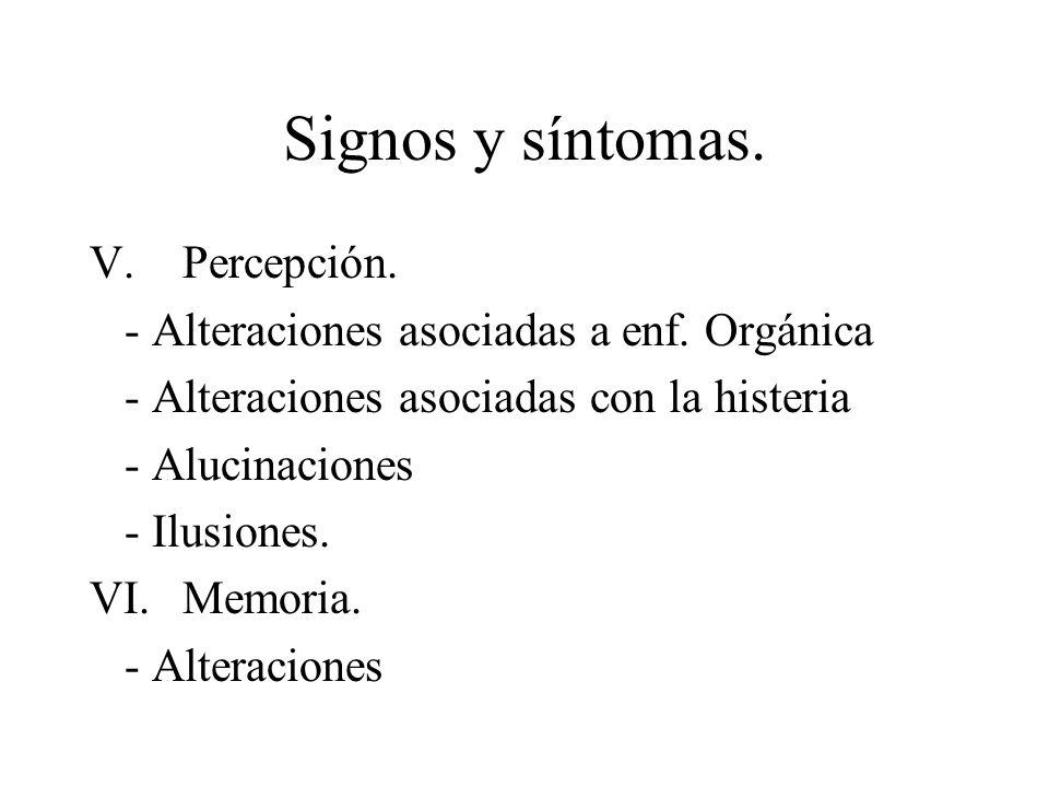 Signos y síntomas. Percepción.
