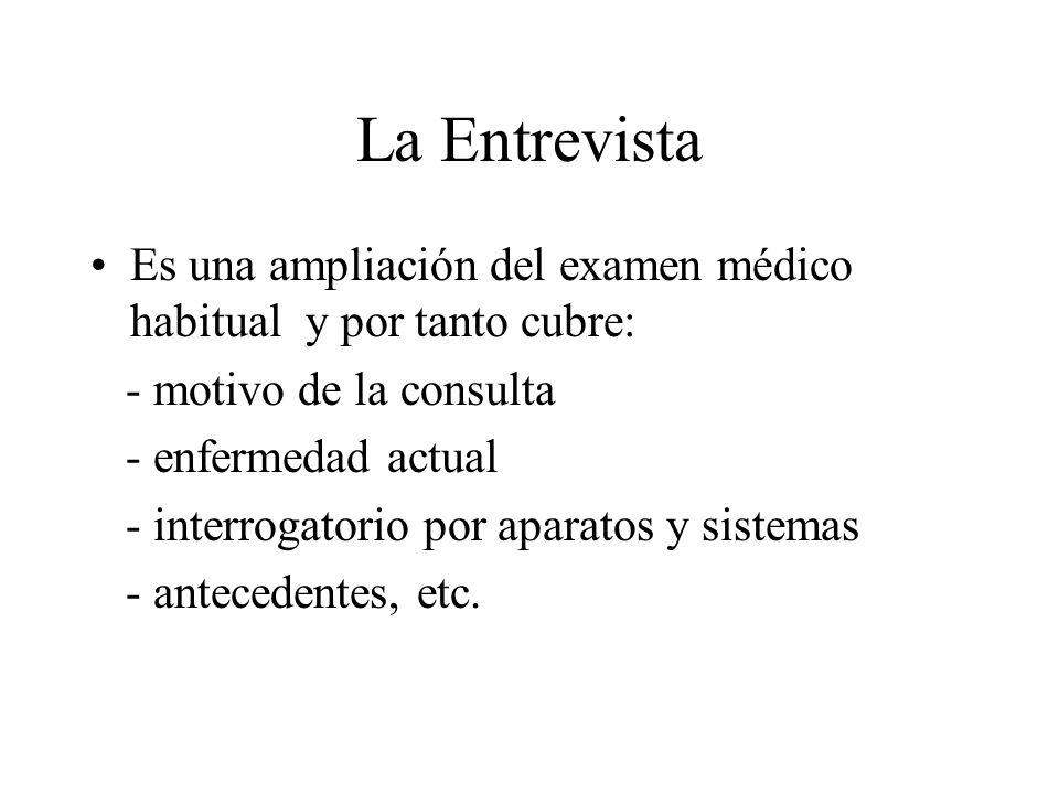 La Entrevista Es una ampliación del examen médico habitual y por tanto cubre: - motivo de la consulta.