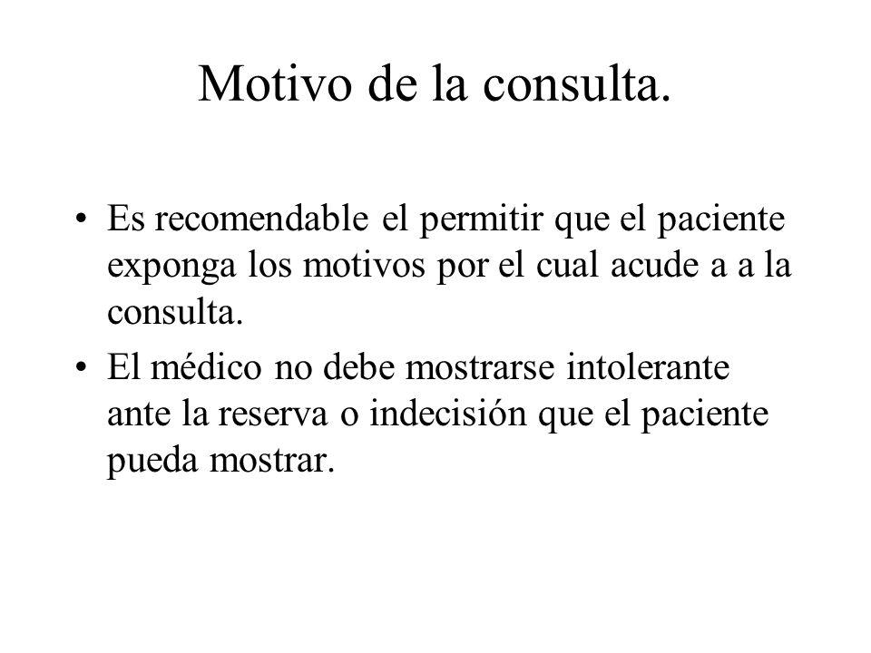 Motivo de la consulta.Es recomendable el permitir que el paciente exponga los motivos por el cual acude a a la consulta.