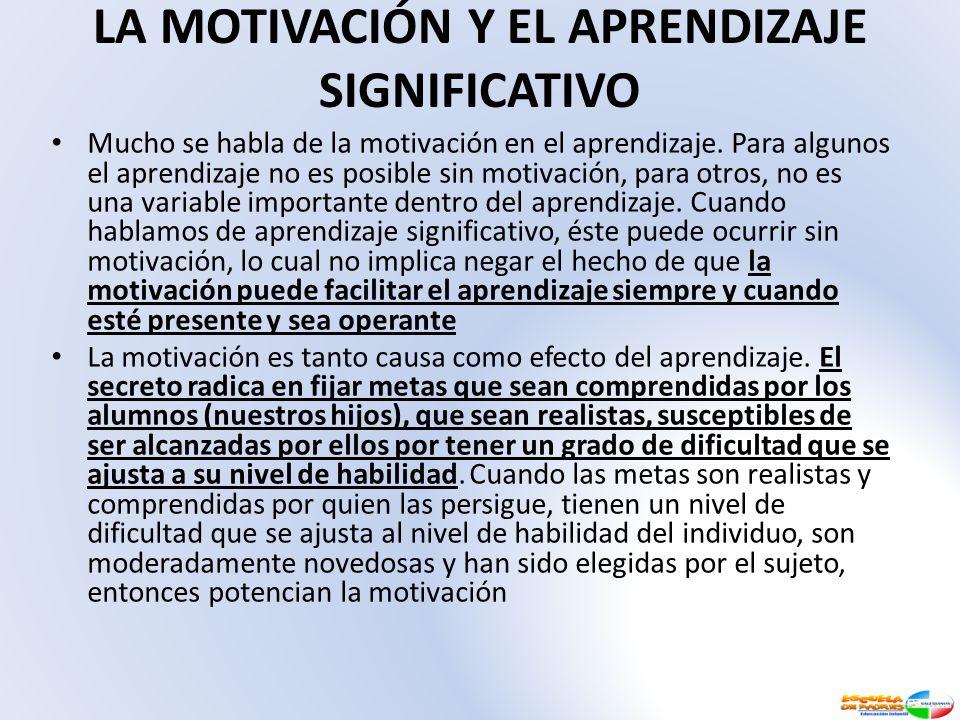 LA MOTIVACIÓN Y EL APRENDIZAJE SIGNIFICATIVO