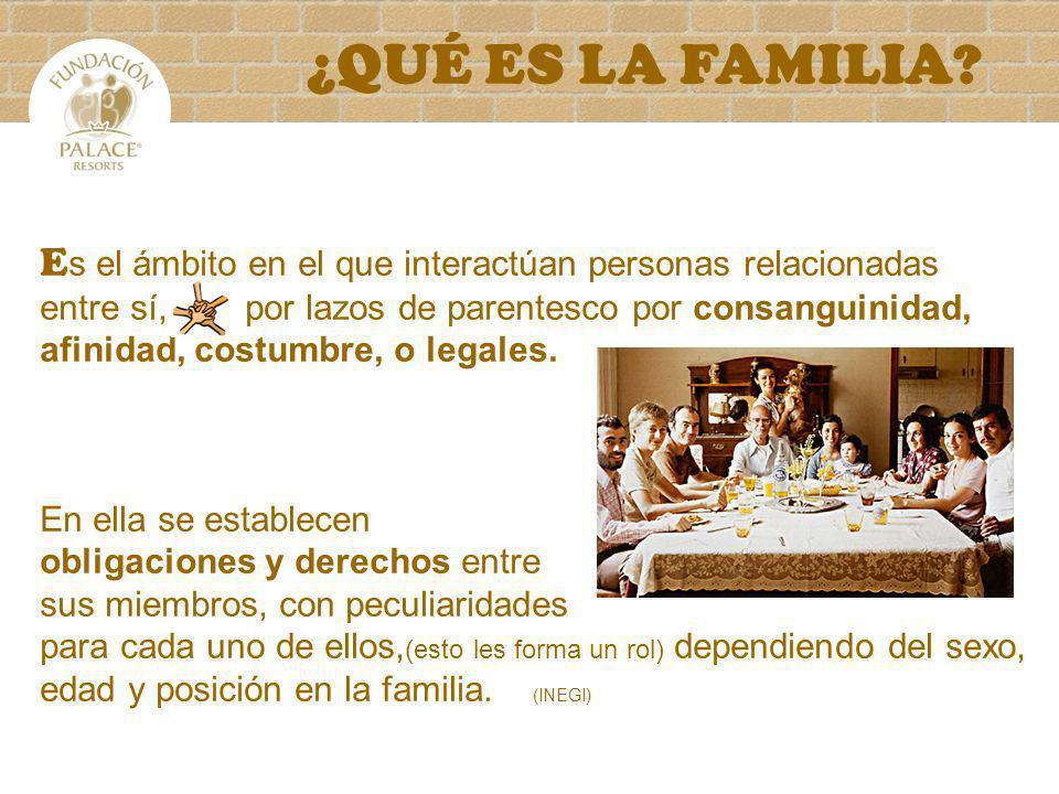 ¿QUÉ ES LA FAMILIA Es el ámbito en el que interactúan personas relacionadas.