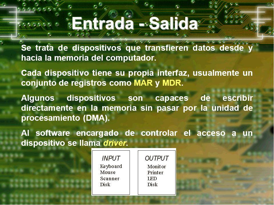 Entrada - SalidaSe trata de dispositivos que transfieren datos desde y hacia la memoria del computador.
