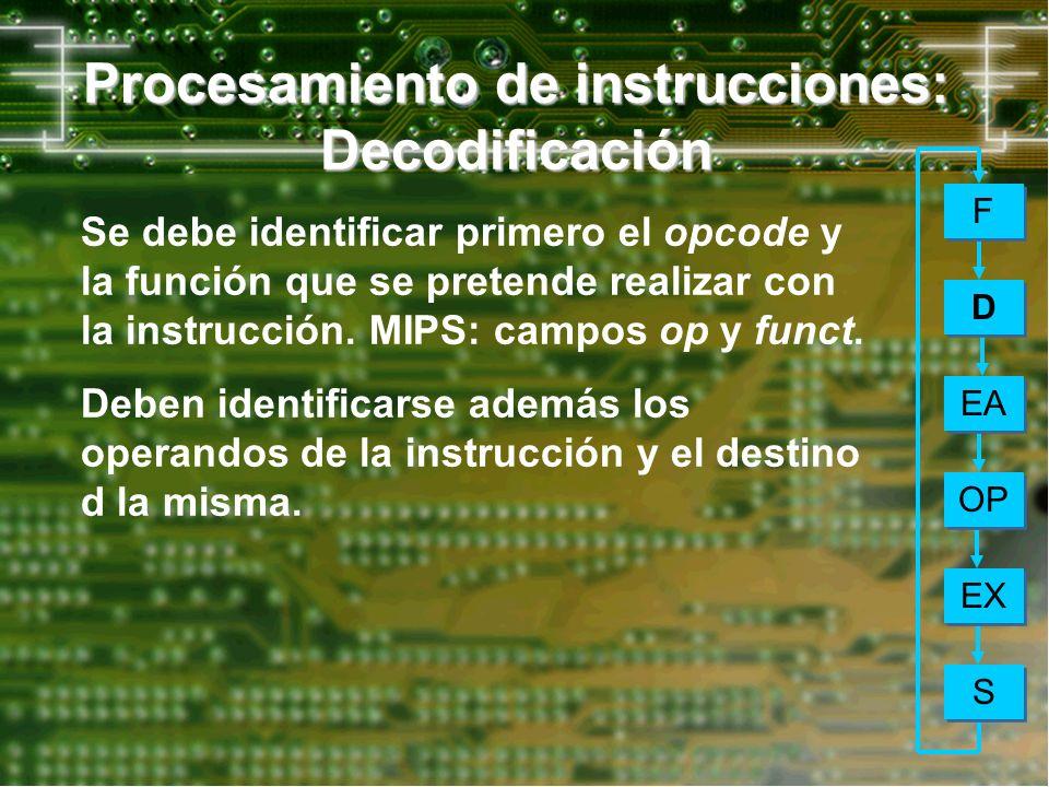 Procesamiento de instrucciones: Decodificación