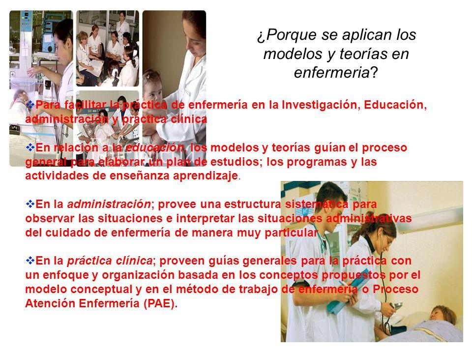 ¿Porque se aplican los modelos y teorías en enfermeria