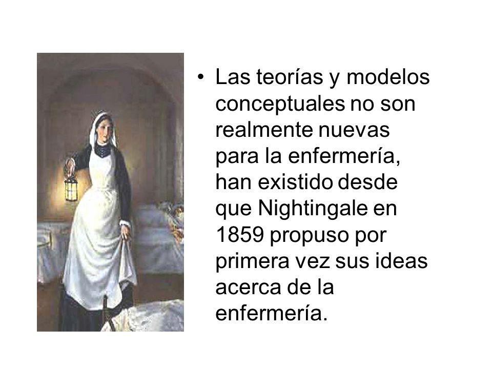 Las teorías y modelos conceptuales no son realmente nuevas para la enfermería, han existido desde que Nightingale en 1859 propuso por primera vez sus ideas acerca de la enfermería.