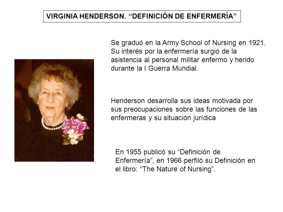 VIRGINIA HENDERSON. DEFINICIÓN DE ENFERMERÍA