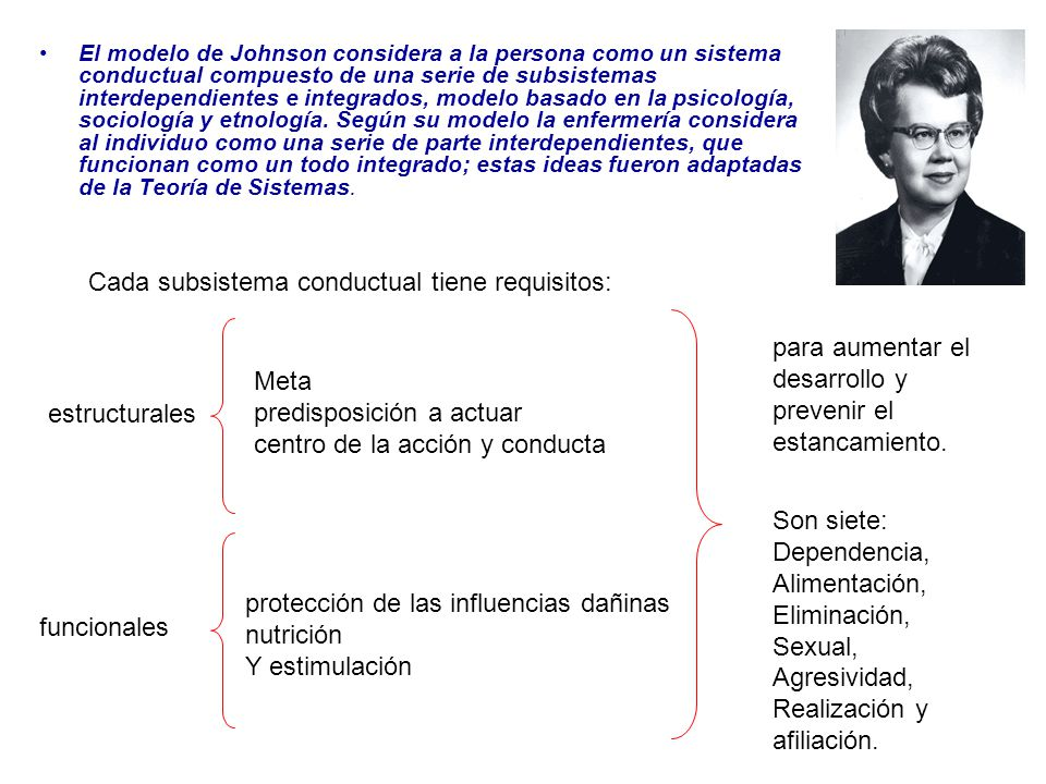 Cada subsistema conductual tiene requisitos: