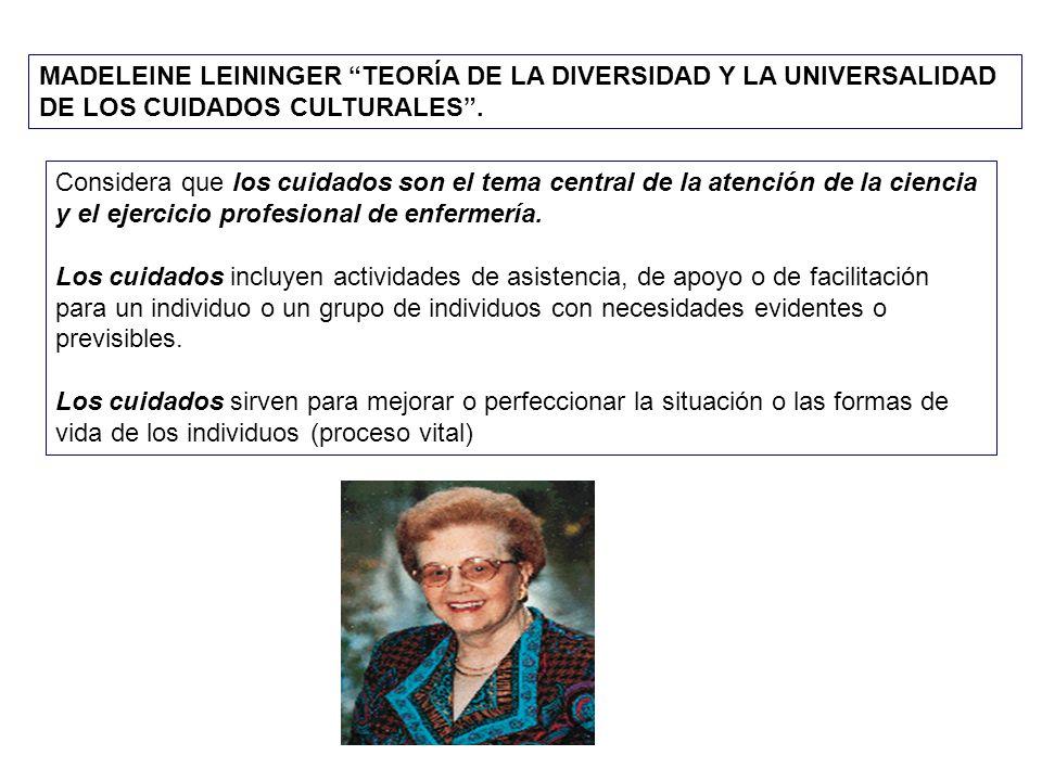 MADELEINE LEININGER TEORÍA DE LA DIVERSIDAD Y LA UNIVERSALIDAD DE LOS CUIDADOS CULTURALES .