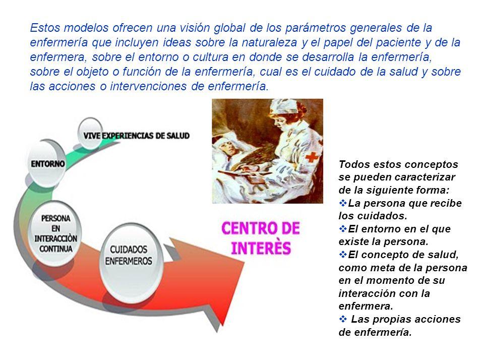 Estos modelos ofrecen una visión global de los parámetros generales de la enfermería que incluyen ideas sobre la naturaleza y el papel del paciente y de la enfermera, sobre el entorno o cultura en donde se desarrolla la enfermería, sobre el objeto o función de la enfermería, cual es el cuidado de la salud y sobre las acciones o intervenciones de enfermería.