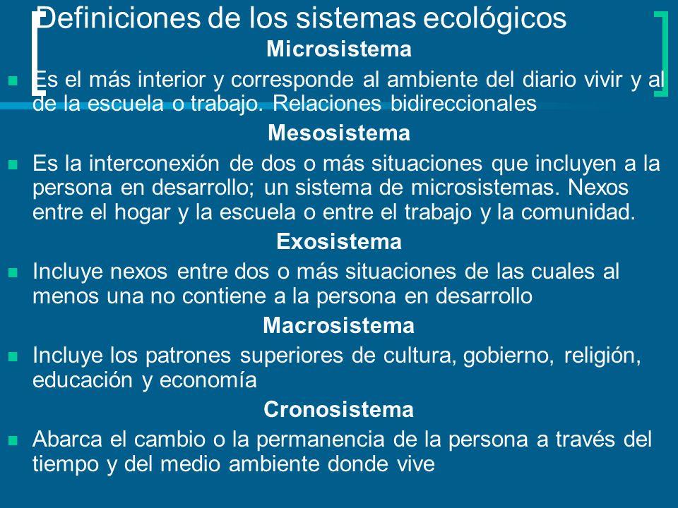 Definiciones de los sistemas ecológicos