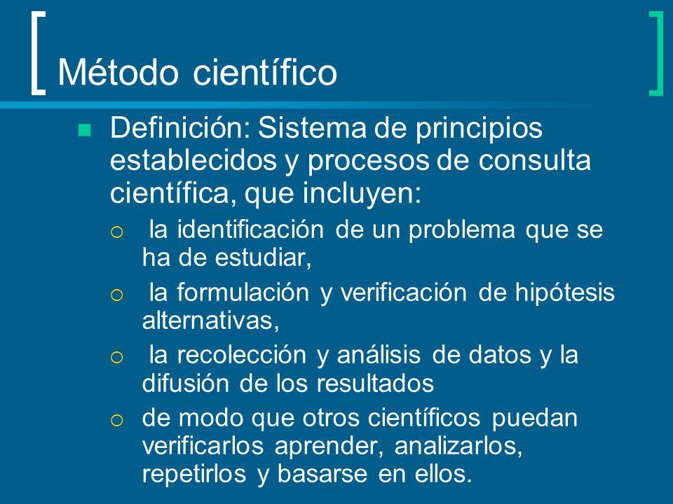 Método científico Definición: Sistema de principios establecidos y procesos de consulta científica, que incluyen: