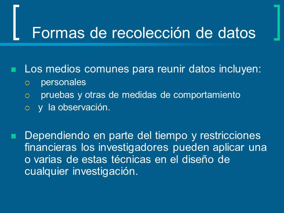 Formas de recolección de datos