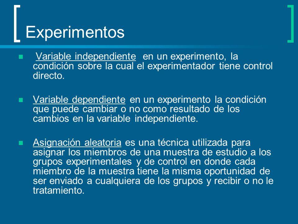 Experimentos Variable independiente en un experimento, la condición sobre la cual el experimentador tiene control directo.