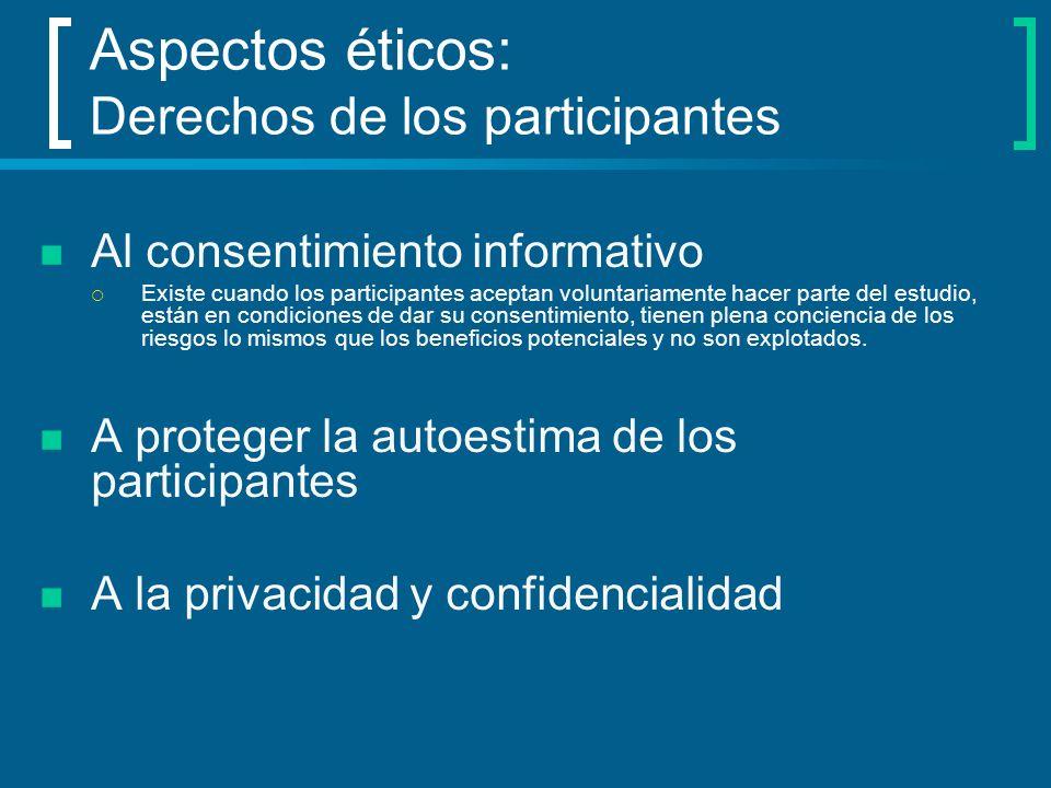 Aspectos éticos: Derechos de los participantes