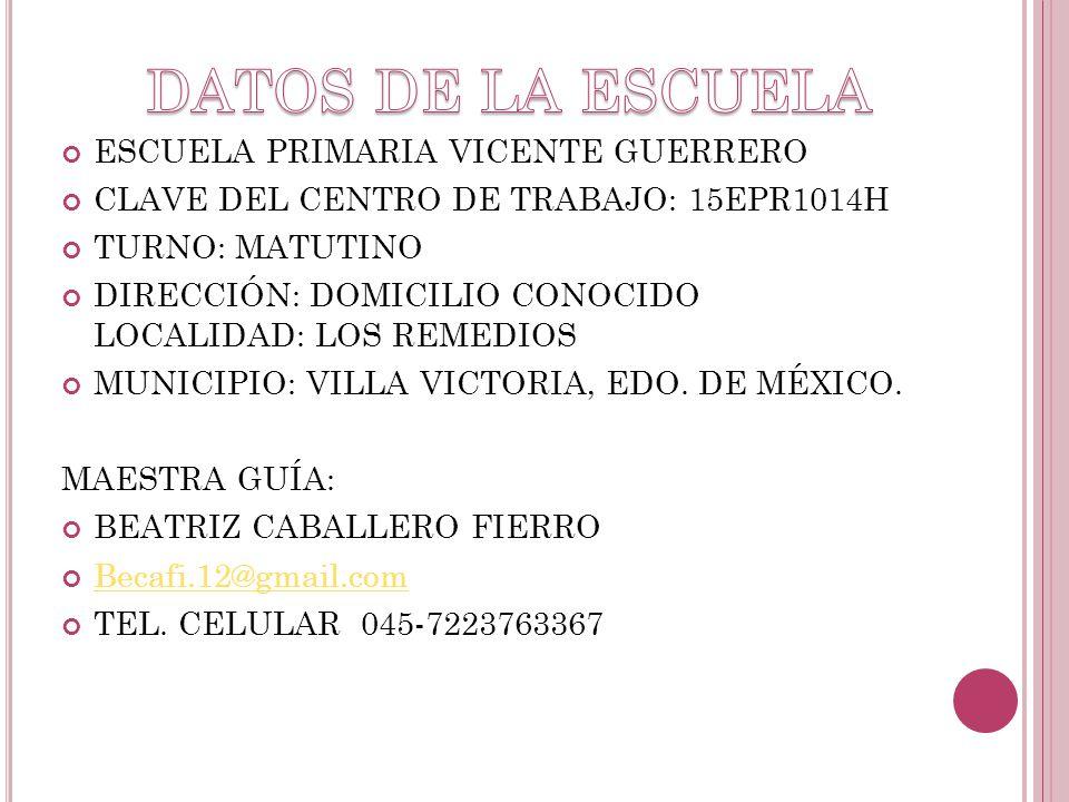 DATOS DE LA ESCUELA ESCUELA PRIMARIA VICENTE GUERRERO